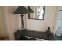 Console table with matching mirror & light