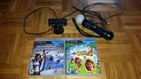 Playstation 3 camera, Move Controller, and 2 Games