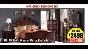 CONTEMPORARY SOLID WOOD 6PC QUEEN BEROOM SET ON SALE (AD 28)
