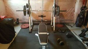 Half rack with lat pull down low pulley row plate holders