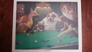 Dogs Playing Billiard