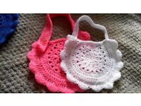 hand crochet baby bibs x 2 girls or boys