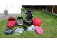 Quinny Buzz Stroller/Car Seat/Carrycot Travel System Black / Red