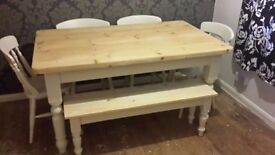 Solid Pine Farmhouse Table, Chairs and Bench Set - (Freshly Painted and waxed to high standard)