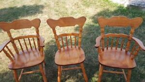 3 Quality ANTIQUE WOODEN Indoor CHAIRS