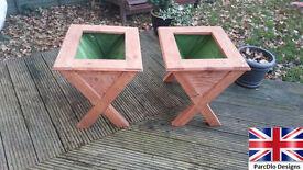Pair of handmade wooden doorstep planters garden trough NEW
