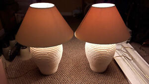 VERY NICE FAUX CLAY / FAUX POTTERY or FAUX STONE TABLE LAMPS