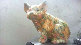 large porcelain pig flowed with resin coat