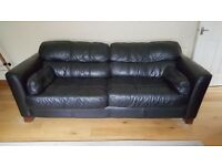 3 seater and 2 seater - black leather suite
