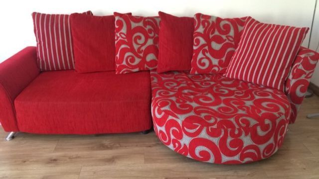 DFS Red Poise Sofa U0026 Swivel Chair