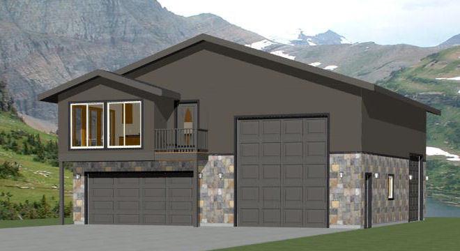 40x42 Apartment with 2-Car 1-RV Garage - PDF FloorPlan - 1,153 sqft - Model 1C