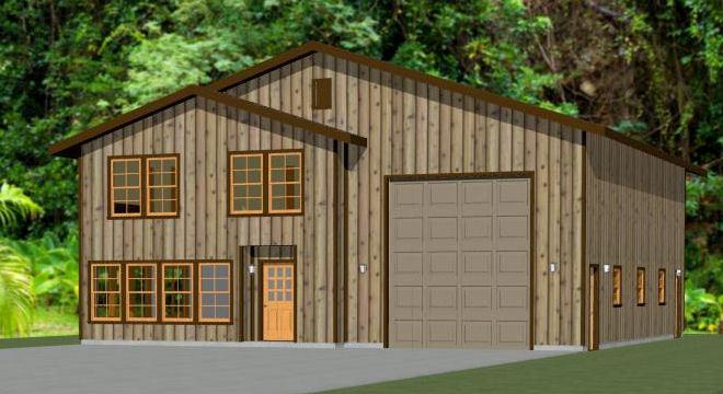 44x48 House with 1-RV Garage - PDF FloorPlan - 2,194 sqft - Model 2A