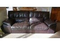Leather sofa and large chair (snuggler)