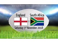 Rugby Tickets England V South Africa at Twickenham Saturday 3rd November 2018