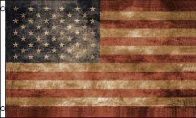 3x5 USA Flag Tea Stained American Banner Distressed Old VERY QUICK SHIPPING