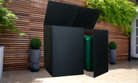 New Two Bin cover Rattan effect for 3 large bins in black