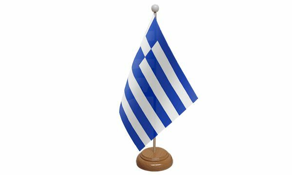Greece Table Desk Flag With Wooden Base