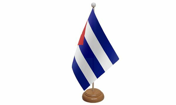 Cuba Table Desk Flag With Wooden Base