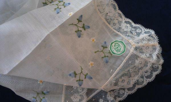 NWT Swiss Embroidered Lace Wedding Hanky Something Blue DESCO New