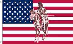 USA-Indiano-a-cavallo-DIETRO-USA-AMERICA-5ft-x3ft-150cm-x-90cm-BANDIERA