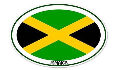 Jamaica Euro Flag Oval car window bumper sticker decal 5