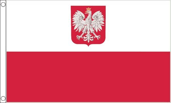 Poland Crest Hard Wearing 100% Nylon Flag 5ft x 3ft (150cm x 90cm)