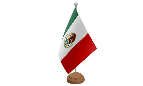 Mexico Table Desk Flag With Wooden Base