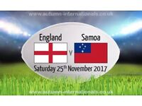 England v Samoa Rugby Tickets x4