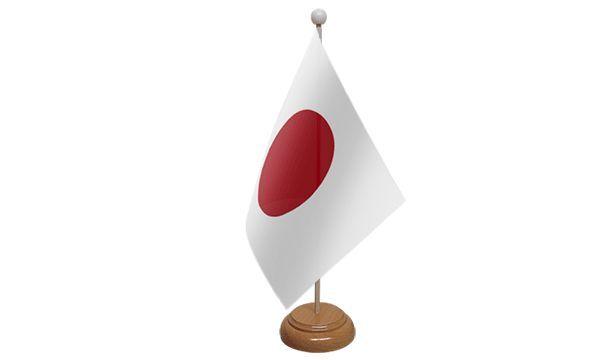 Japan Table Desk Flag With Wooden Base