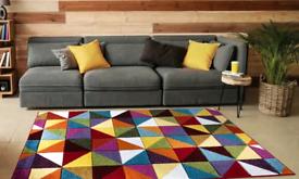 New Multi Bright Colour Carved Floor Rug 120 cms x 170cms