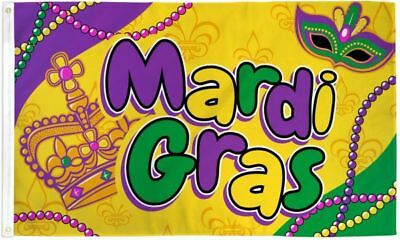 Mardi Gras (Crown and Beads) Flag 3x5ft Poly
