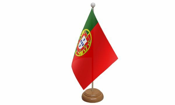 Portugal Table Desk Flag With Wooden Base