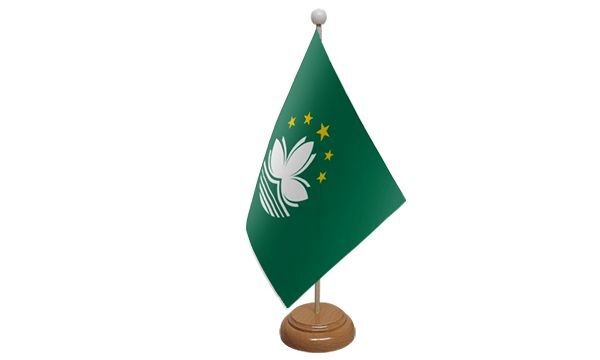 Macao Table Desk Flag With Wooden Base