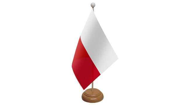 Poland Table Desk Flag With Wooden Base