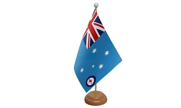 Australia RAAF Royal Air Force Blue Ensign Table Desk Flag With Wooden Base