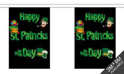 Happy St.Patricks Day (Schwarz) - 6 Meter Lang, 20 Flagge Fahne