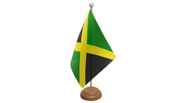 Jamaica Table Desk Flag With Wooden Base