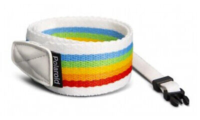 POLAROID Retro CAMERA STRAP FLAT in RAINBOW WHITE (UK Stock) # 006054...