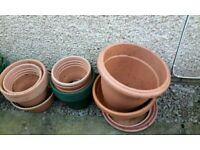 Variety Of Plastic Terracotta Coloured Outdoor Gardening Pots