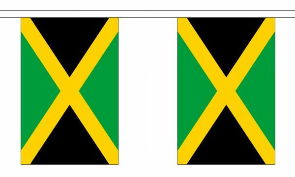 Jamaica Flag Bunting - 3m 6m 9m Metre Length 10 20 30 Flags - Polyester