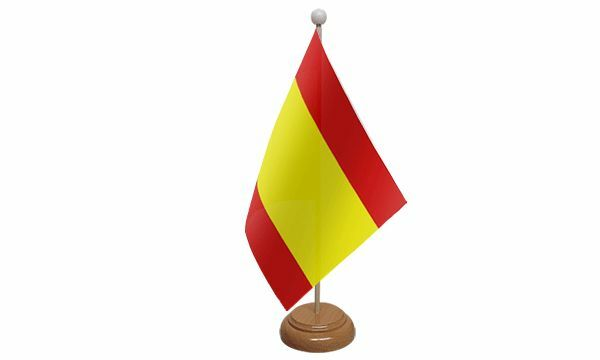 Spain Federal Table Desk Flag With Wooden Base