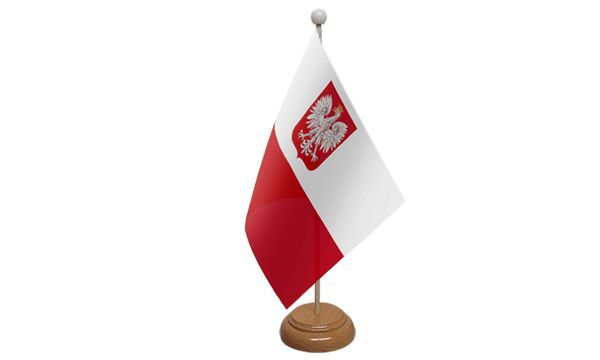 Poland Eagle Table Desk Flag With Wooden Base
