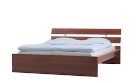 ikea double bed frame HOPEN wth wooden slats and Sultan Mattress, CAN DELIVER