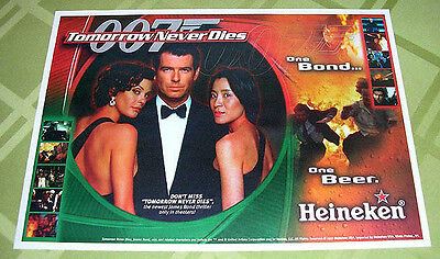 James Bond 007 Tomorrow Never Dies Beer Promo Paper Placemat Lot Of 4