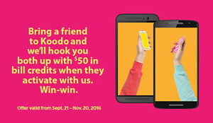 $50 Credit for Koodo Mobile new customers