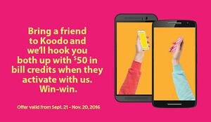 FREE Koodo referral credit $50