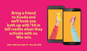 FREE Koodo referral credit $50