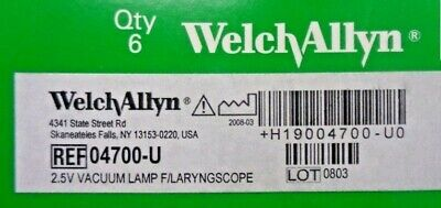 Pack Of 6 - Welch Allyn 04700 04700-u 2.5v Vacuum Lamp For Laryngoscope Blades