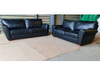 High Quality Salisbury 4+3 Seater Leather Sofas - Black.