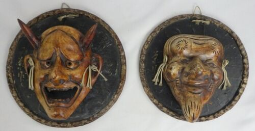 VINTAGE JAPANESE NOH / KABUKI ORNAMENTAL MASK WALL HANGINGS